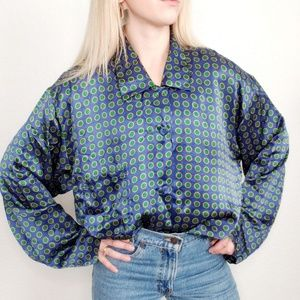 Vintage Honors Silk Polka Dot Sleep Shirt Blouse